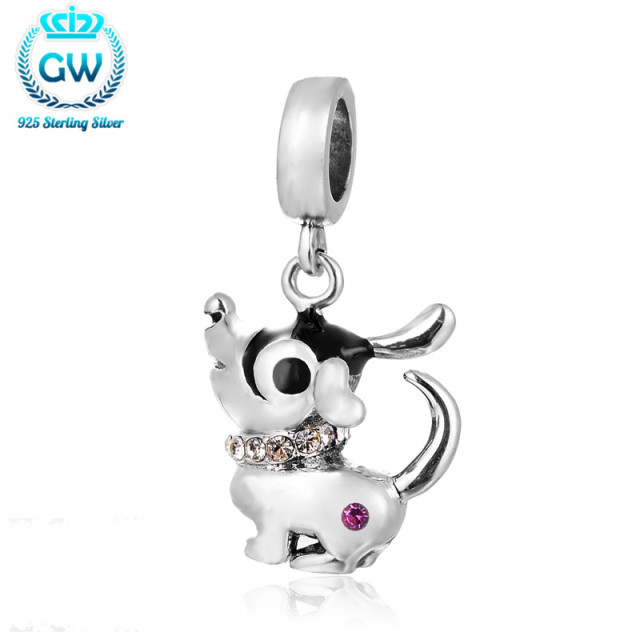 Genuine European Style Sterling Silver Cute Dog Charms Pendant