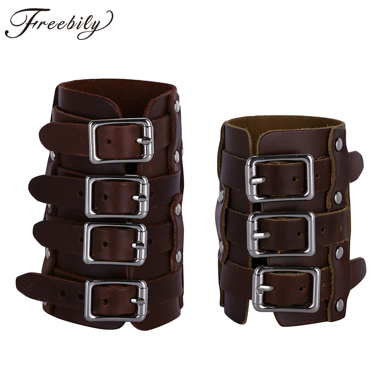 Mens Punk Faux Leather Adjustable Buckles Gauntlet Wristband Wide Medieval Bracers Protective Arm Armor Cuff Costumes