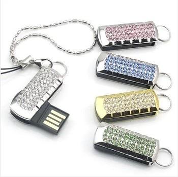Best Selling Crystal Pen Drive 16GB 32GB Jewelry Waterproof Mini USB Flash Drive 1TB 2TB USB Memory Stick Pendrive 128GB 64GB