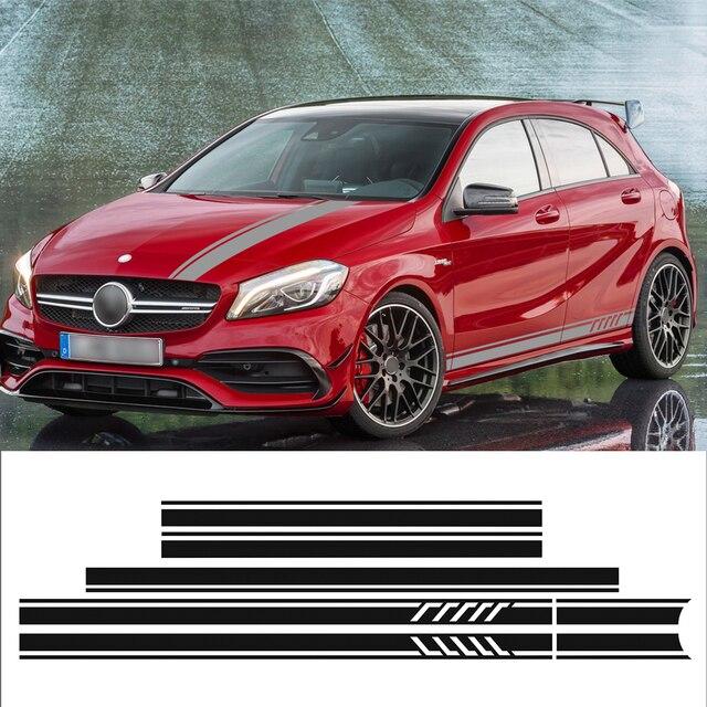 Car Styling Side Stripe Skirt Top Roof Hood Bonnet Vinyl Decal Car Sticker for Mercedes Benz A Class W176 A45 AMG Accessories