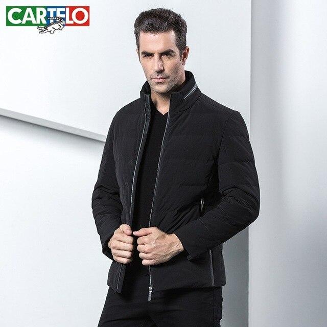 Cartelo marca LOS HOMBRES de invierno nuevo escudo de negocios CHAQUETA casual hombres de moda stand-up collar caliente PATO BLANCO ABAJO ropa CHAQUETA