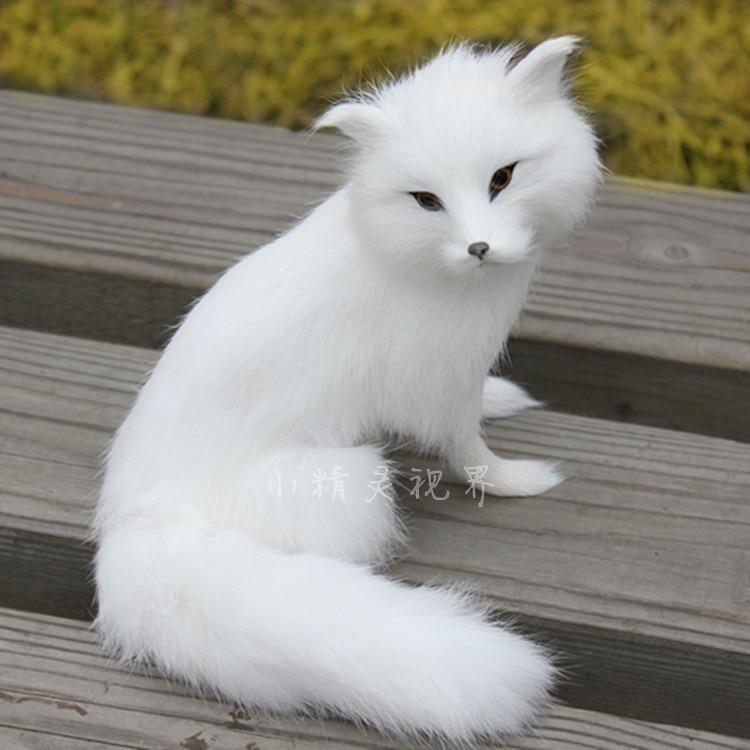 고품질 귀여운 여우 장난감 시뮬레이션 흰색 여우 인형 섬세한 흰 여우 선물 장난감 약 16x14cm 2096