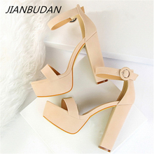 JIANBUDAN/ Super high heel 13cm Womens Banquet sandals Brand Elegant Women High Heels Summer sexy Open Toe Pumps 34-40