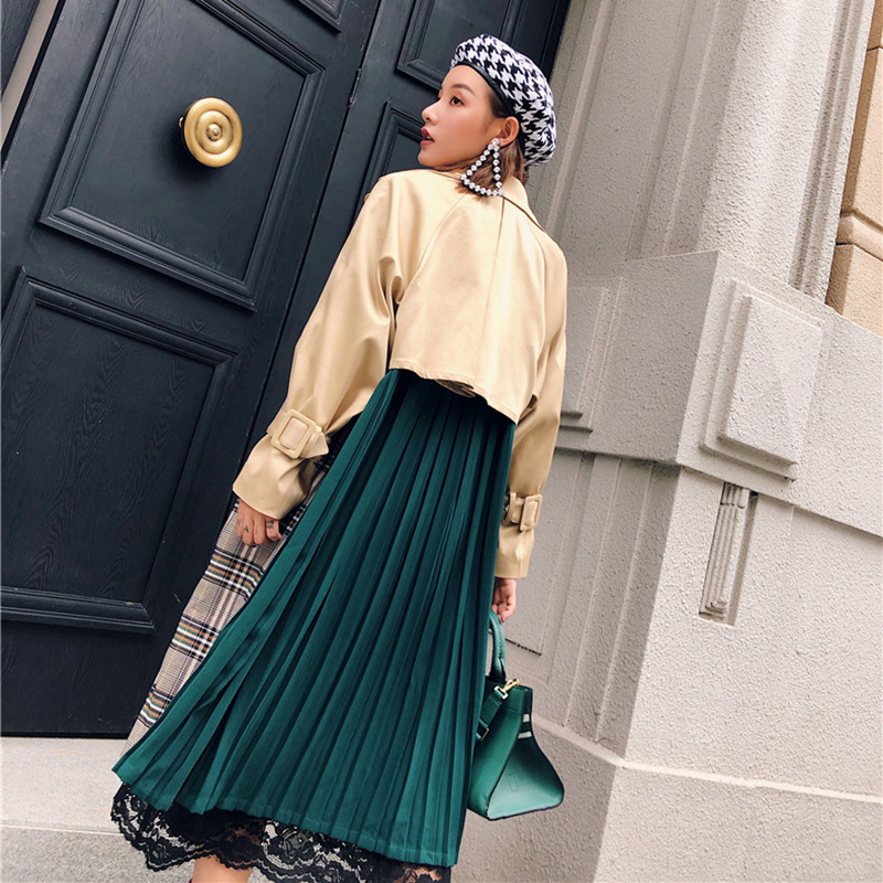 Spring autumn Casual Plaid Contrast Color Back Green Pleated Overcoat Vintage New Female's   Trench   For Women Long Coat FY21