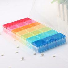 Nowy 7 na pigułki tabletka na leki dozownik organizator Case z 21 przegródkami pudełko na pigułki multicolor pojemnik na leki