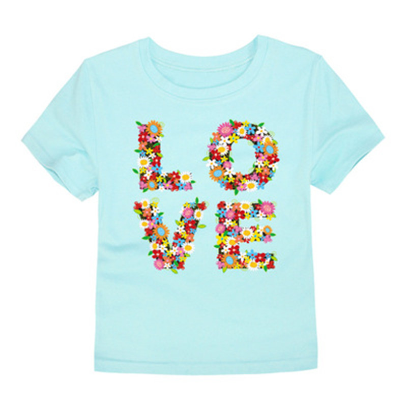 Tee Baby Clothing Tops T-Shirt Short-Sleeve Flower Children Love 12-Colors Breathable