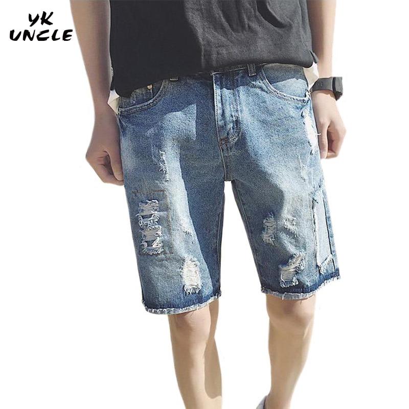 YK UNCLE Brand  Jeans Shorts Mens 2017 Summer Distressed Destroyed Denim Shorts Fashion Casual Hole Men Cowboy Shorts Blue M-5XL