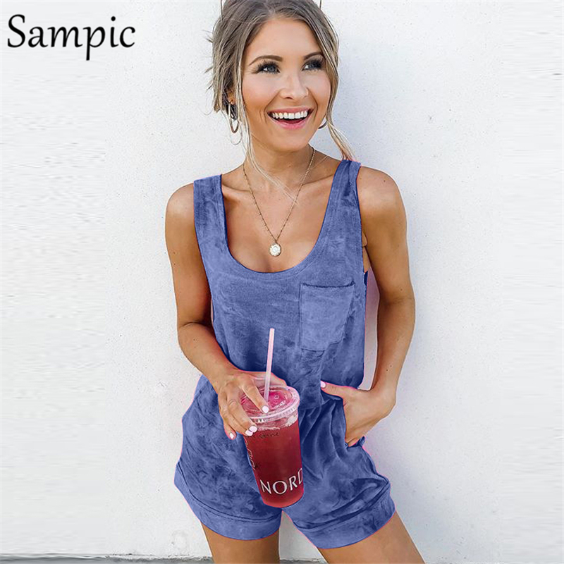 Sampic summer beach casual cotton romper elegant strap sleeveless rompers women   jumpsuit   shorts 2019
