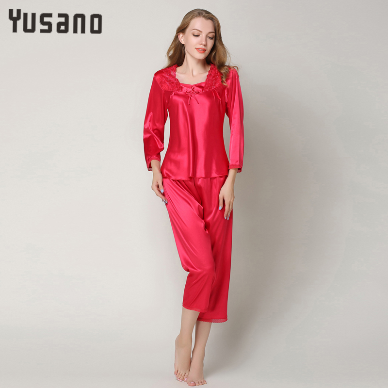Autumn Women Satin Pajama Sets Long Sleeve Lace Sleepwear Set Two-pieces Plus Size Pijama Mujer Pijama Feminino Pyjama Femme