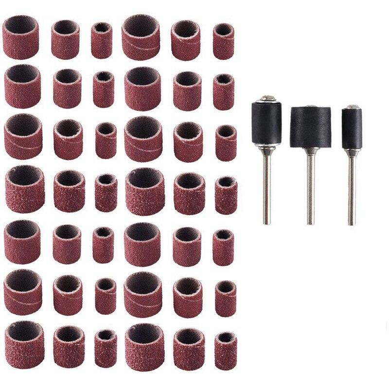 Sanding Drum Kit,192 Pcs Drum Sander Set With Shank Including 180 Pcs Nail Sanding Band Sleeves And 12 Pcs Drum Mandrels For D