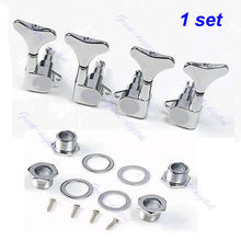 New Chrome Guitar Sealed Tuners Tuning Pegs Machine Heads 2R2L For 4 String Bass