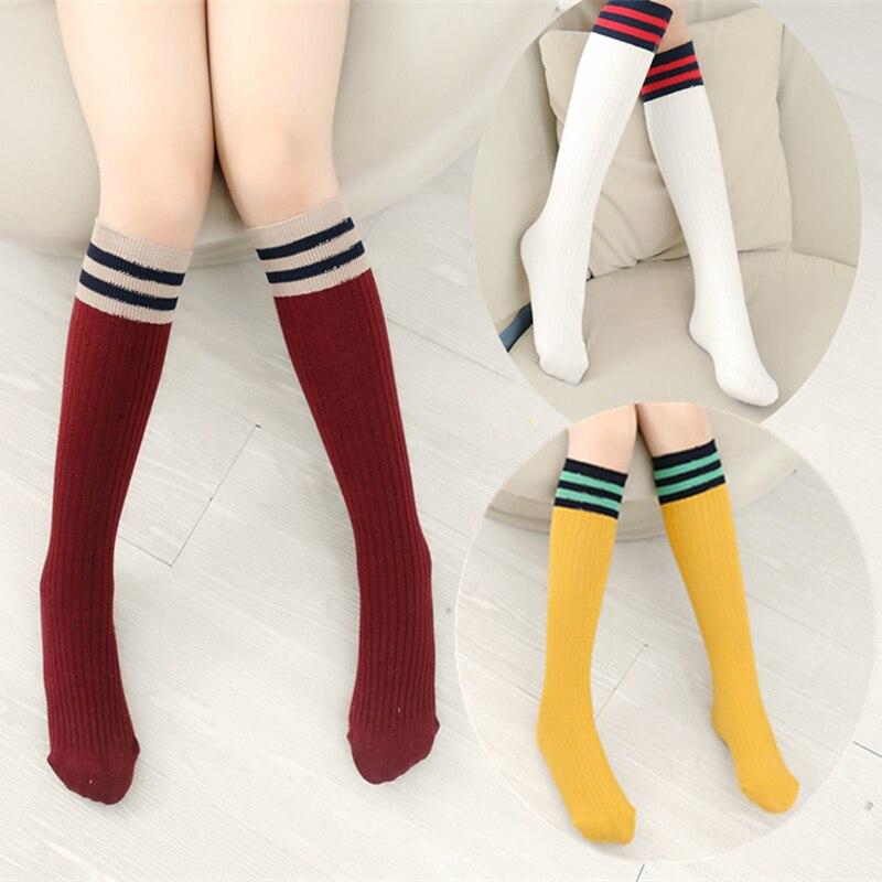 Girls Knee High School Socks For Baby Boys Cotton Lovely Stripe Over Knee Socks For Princess Girls Long High Sock 1-15Y