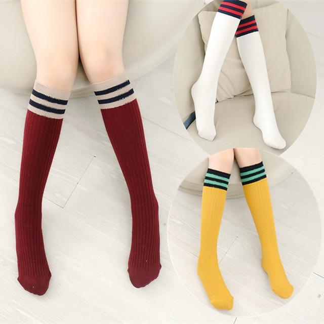 bea1ba50312 Girls Knee High School Socks for Baby Boys Cotton Lovely Stripe Over Knee  Socks for Princess Girls Long High Sock 1-15Y