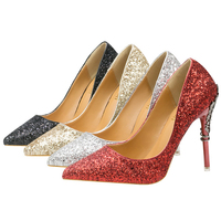 2018 red silver high quality women pumps bling Sequined high heels metal thin heel stilettos wedding bridal satin shoes