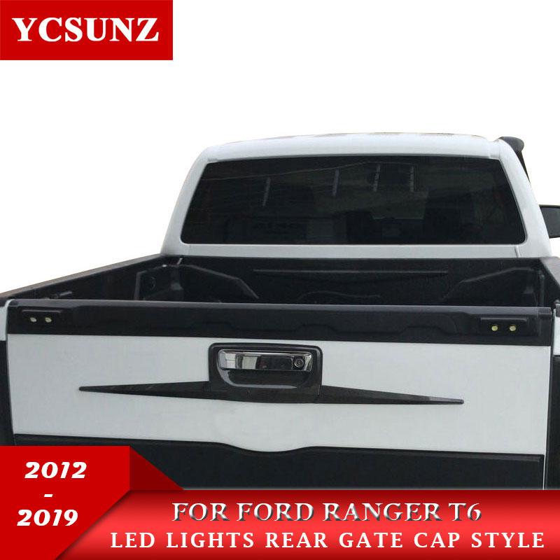 Garde arrière avec LED hayon camion garniture camion seuil de porte pour Ford Ranger T6 T7 Wildtrak 2012 2013 2014 2015 2016 2017 2018 2019