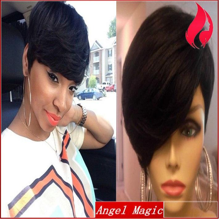 Brazilian Short Pixie Cut Wigs Full Lace Human Real Hair