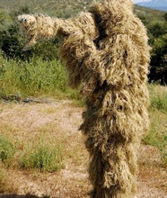 The latest Dry Grass type  Desert Ghillie Camouflage Suit Camo CS Stealth Sniper Hunting Paintball Suit CS Tactical Ghilly Suit