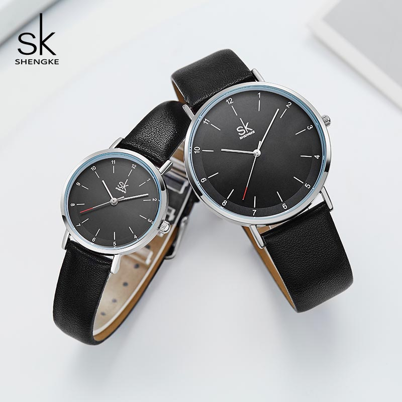 Shengke Fashion Leather Watches For Lover Couple Watches Luxury Quartz Female Male Wrist Watch 2019 New Wedding Days Gift #K8066