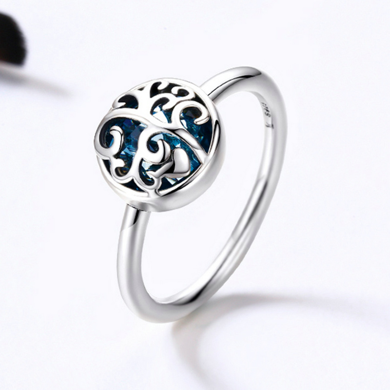 SHIQIER Hot Sale 925 Sterling Silver 2 Color Tree of Life Finger Ring Crystal Rings for Lady Sterling Silver Jewellery Gift