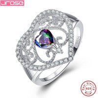 Jrose Heart Style Engagement Bride Party Cocktail Mystic Rainbow & White & Blue Cubic Zircon 925 Sterling Silver Ring Size 6 789