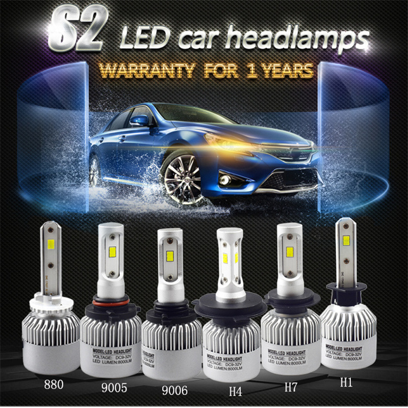 2X coche Led H7 H4 H1 H3 H8 H11 H13 9005 9006 9007 881 LED faros 6500 K 72 W 8000LM automóviles lámpara bombilla Auto coche Luz