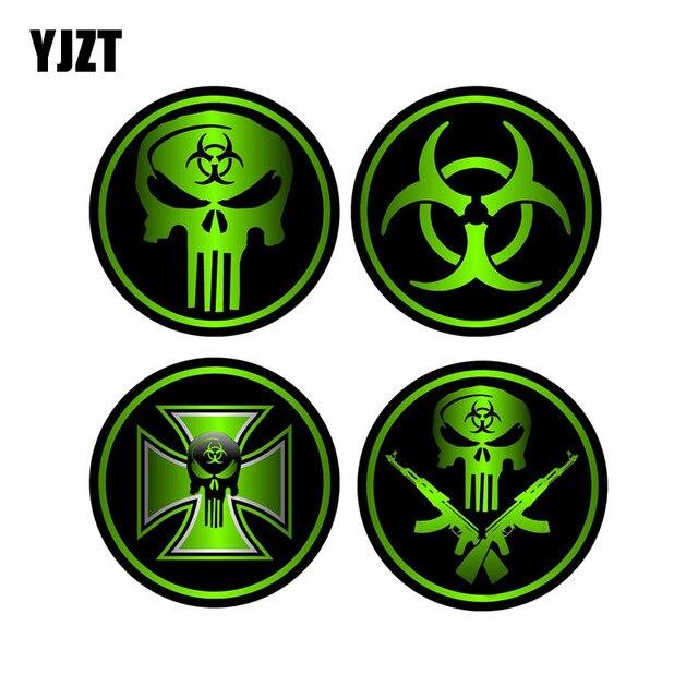 YJZT 8x8cm 4X ZOMBIE Decals Car Sticker Sniper Bio Skull ...