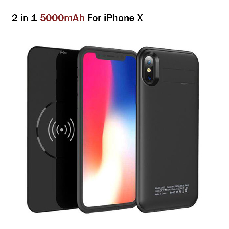 5000mAh Wireless Charger Power Bank Case For iPhone X XS Rechargeable External Battery Case Backup Charging Case Cover