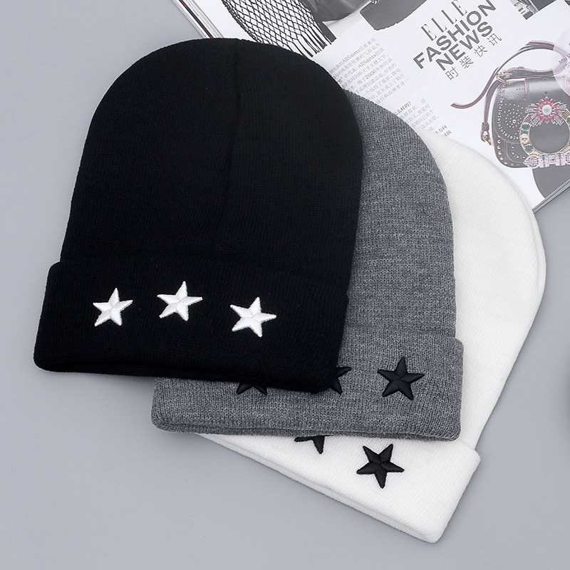High Quality NY Pentacle Star Embroidery Warm Skull Beanie Hip Hop Knit Cap Crochet Cuff Winter Hat For Men And Women pentacle star warm skull beanie hip hop knit cap crochet cuff winter hat for women men hot sale