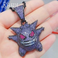 RAKOL New Fashion Funny Brilliant Doll Cubic Zirconia Pendant Necklaces For Girl Women Causal Dress Jewelry RN721173