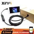 Xinfi 8.5mm 2.0MP Endoscópio USB 2 M cabo Android mini esgoto câmera tubo Cobra câmera Endoscópio para USB OTG Câmera do carro inspeção