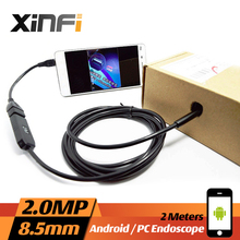 Xinfi 8.5mm 2.0MP USB Endoscope 2M cable Android mini sewer camera Borescope for OTG USB pipe camera Snake Camera car inspection