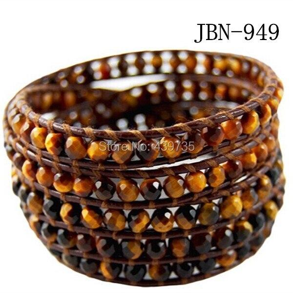 2016 mens bracelets Tiger's eye beads  bangle vintage Style weaving brown  leather women bracelet   charm bracelet JBN-949