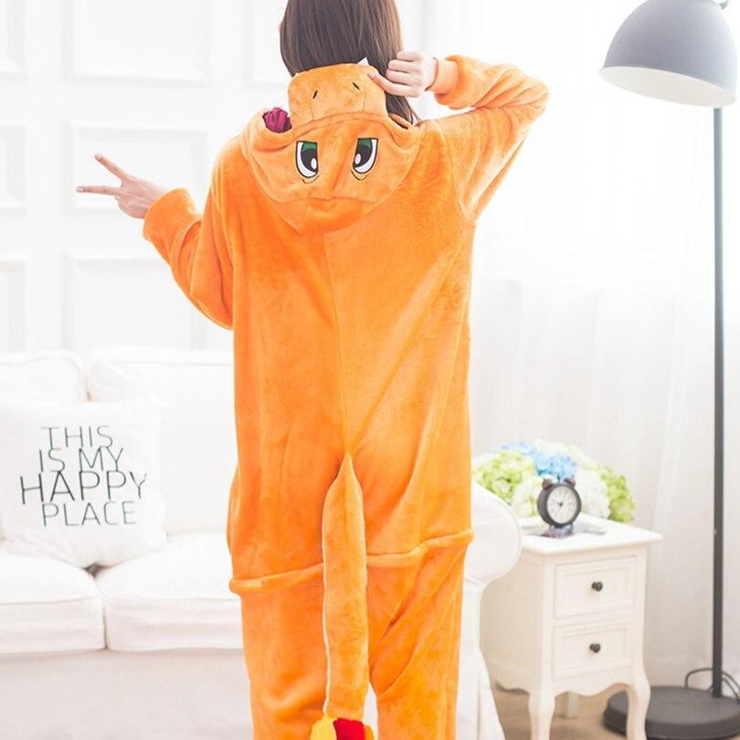 Adults Animal   Pajamas     Sets   Cartoon Sleepwear Cosplay Zipper Women Men Winter Unisex Flannel Pokemon Charmander   Pajamas
