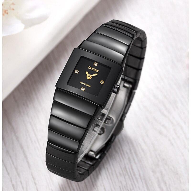 DOM Women Watches Top Brand Luxury Quartz Clock Classic Business Korean Ceramic Waterproof Ladies Watch Relogio
