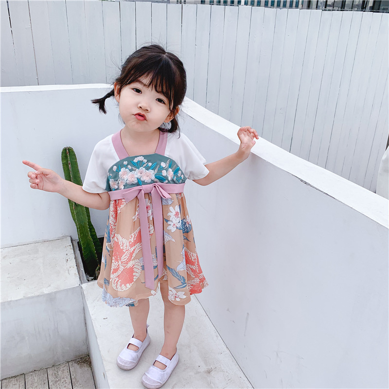 Girls Chinese Ancient Clothes New Hanfu Dress Short Sleeve Summer Tang Dynasty Suit Traditional Chinese Dance Costumes DQS2368