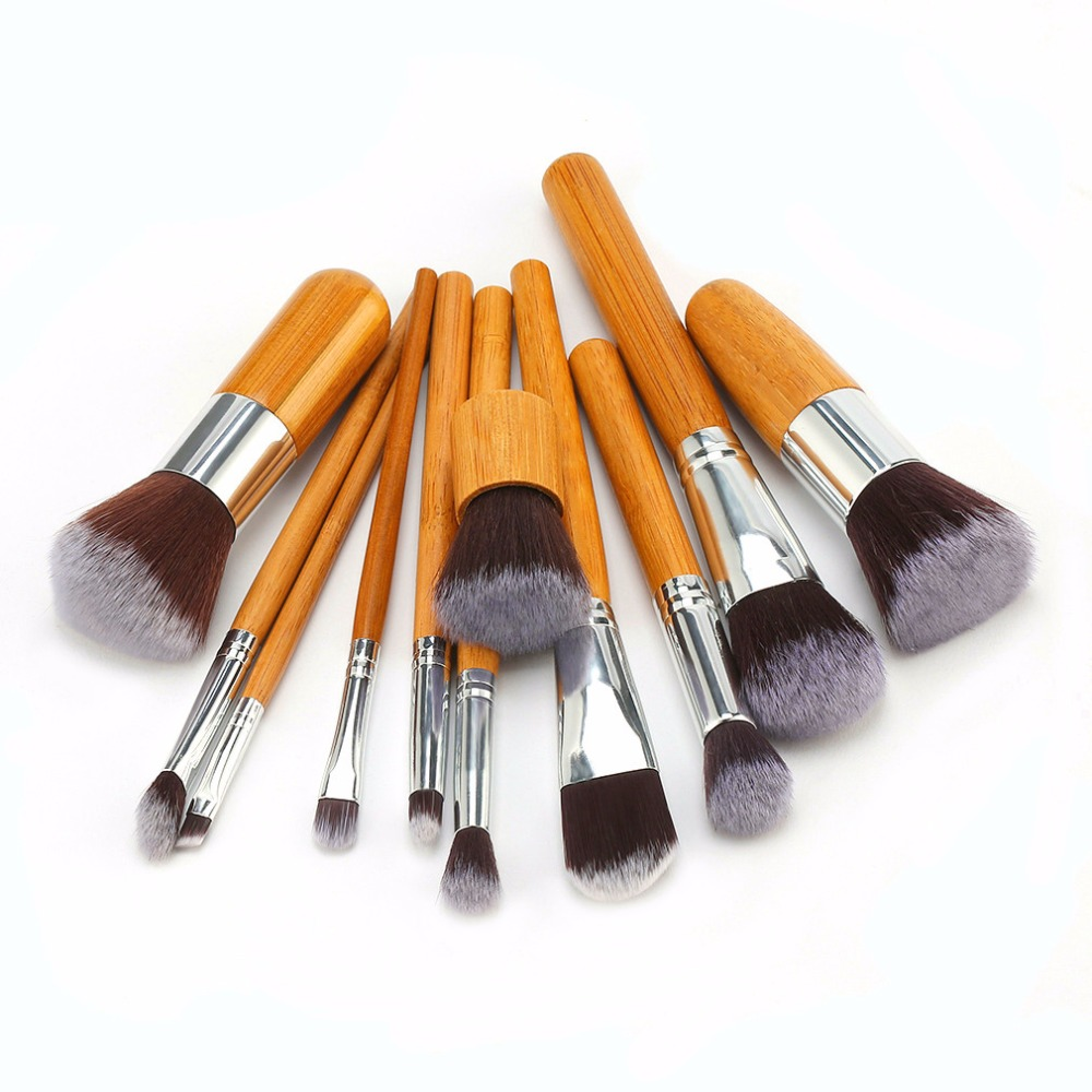 11Pcs Professional Bamboo Makeup Brushes Eyeshadow Foundation Blush Blending Make Up Brush Set+Bag Beauty Tools Pincel Maquiagem 15 pcs professional makeup brushes set power foundation eyeshadow blush blending make up beauty cosmetic tools kits hot