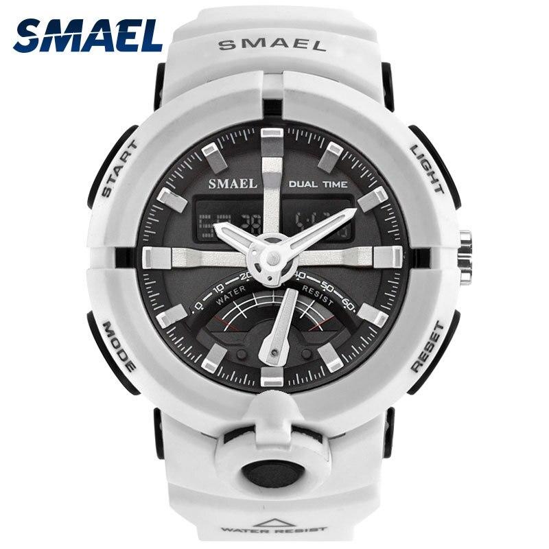 Reloj deportivo blanco para hombre relojes de pulsera SMAEL Dual Time alarma de goma blanca 1637 reloj masculino relojes impermeables de lujo