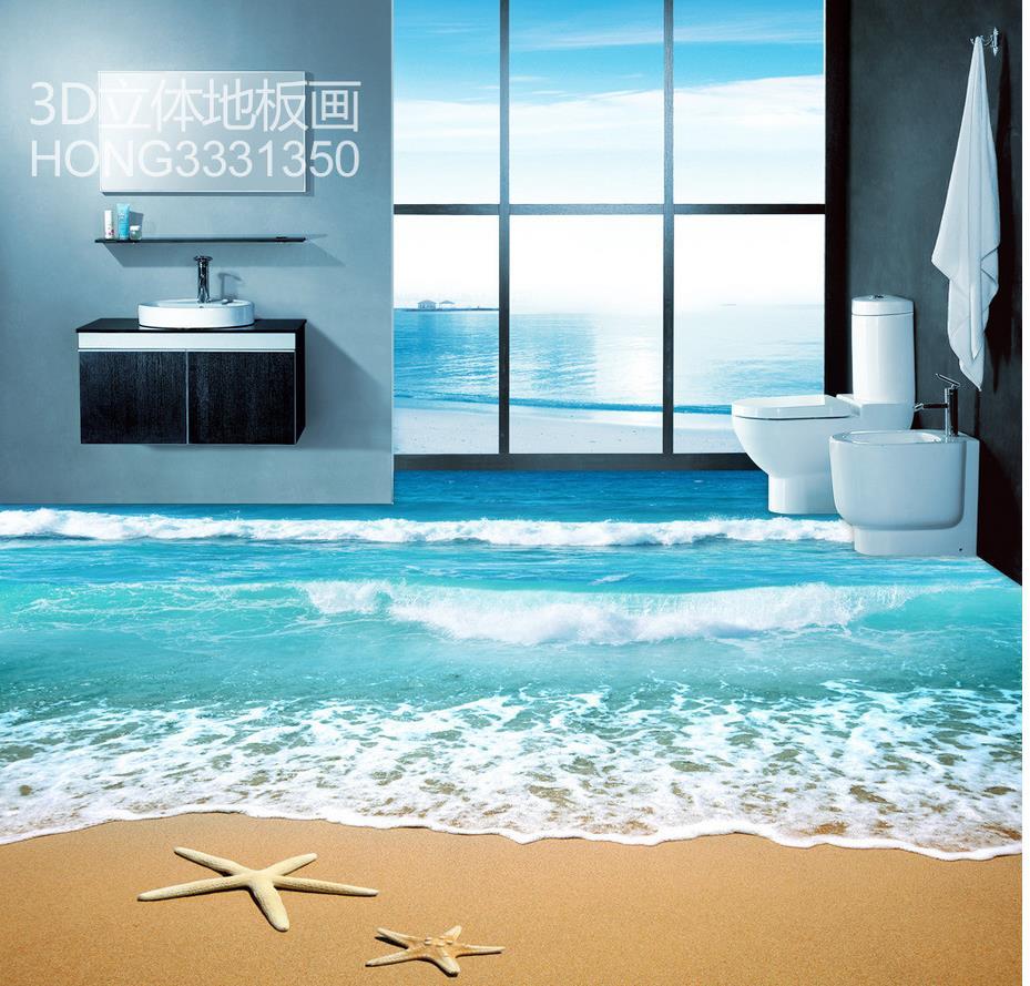 Waterproof Bathroom Walllpaper: 3d Flooring Starfish Beach Surf Waves 3D Floor Bathroom