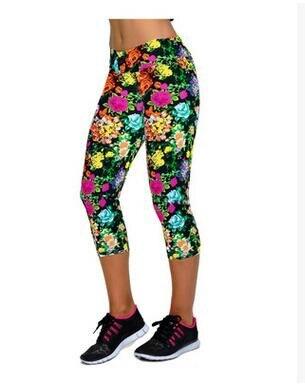 1pcs/lot free shipping woman casual print legging knee length milk silk legging lady summer legging M l size