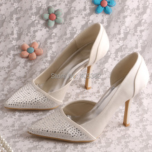 Wedopus Crystal Sexy Fashion Women Pointed Toe Shoes Wedding for Bride Pumps 9.5CM Dropshipping
