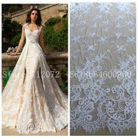 Off white robin wedding dreess french lace fabric 55'' width 3 meters length by piece