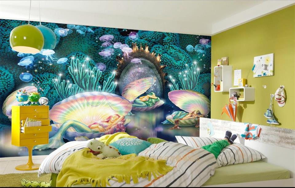 Custom photo Non-woven mural 3d wallpapers for living room Submarine Mermaid decoration painting 3d wall murals wallpaper ceiling non woven wallpapr home decoration wallpapers for living room 3d mural wallpaper ceiling customize size