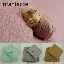 odeja za novorojenčke ozadje + ovitek + trak za glavo novorojenček rekvizita fotografija rekvizita odeja odeje viseči zaviti otroški cvetlični trak