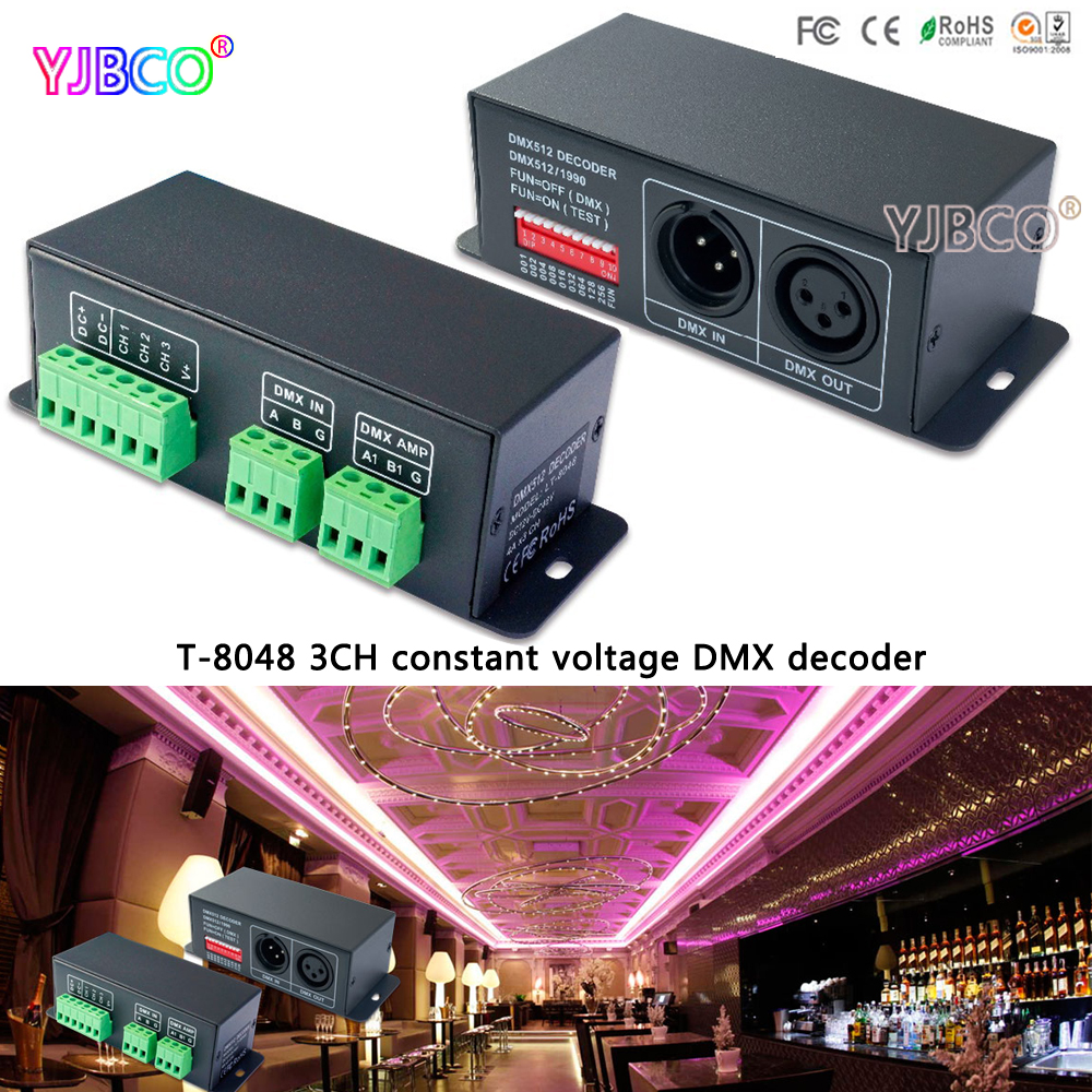 LTECH led comtroller LT-8048 DMX-PWM constant voltage decoder DC12-48V input;4A*3CH output for led lamp strip lt 810 10a led constant voltage dmx pwm decoder 1ch dimming dedicated 10a 1channel output