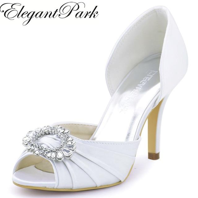 622265129 Mulher de casamento Sapatos de Salto Alto Branco Marfim Peep Toe Strass  Bombas de Noiva Damas