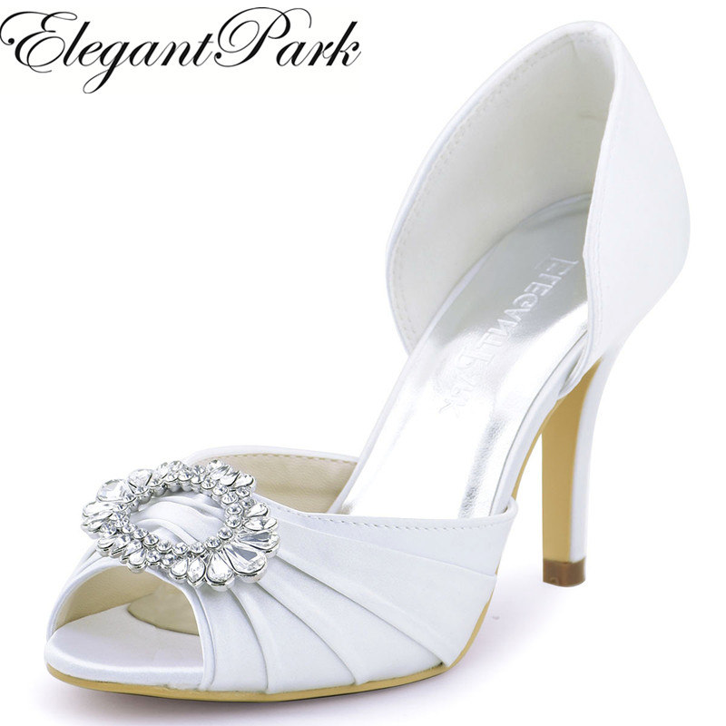 цена на Woman wedding High Heel Shoes White Ivory Peep Toe Rhinestones Bride Bridesmaids Satin Prom Evening Bridal Pumps A2136 Beige