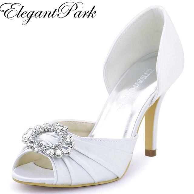 Woman wedding High Heel Shoes White Ivory Peep Toe Rhinestones Bride  Bridesmaids Satin Prom Evening Bridal Pumps A2136 Beige 94fe39459db4