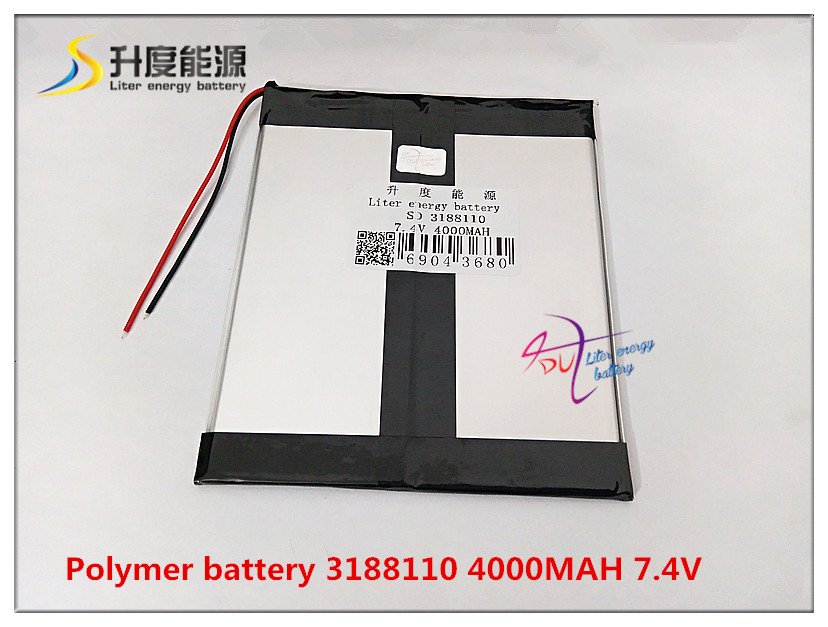 <font><b>7.4V</b></font> <font><b>4000mAh</b></font> 3188110 Polymer lithium ion / Li-ion <font><b>battery</b></font> for tablet pc cell phone speaker POWER BANK image