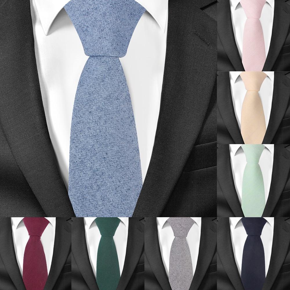 Cotton Neck Ties for Men Casual Suits Skinny Tie Gravatas Solid Black Mens Neckties For Business 6 cm Width Wedding
