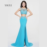 Sexy Side Slit Two Piece Prom Dresses 2017 New Chiffon Crystal Beaded Formal Evening Gowns PD57